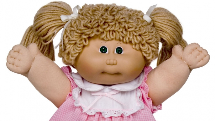 A blonde-haired Cabbage Patch doll